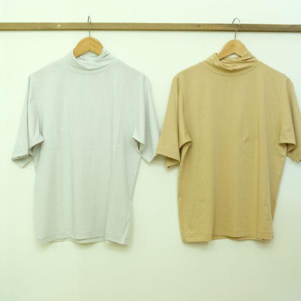 ESTROISLOSE プレミアム天竺のタートルネックの半袖Tシャツ