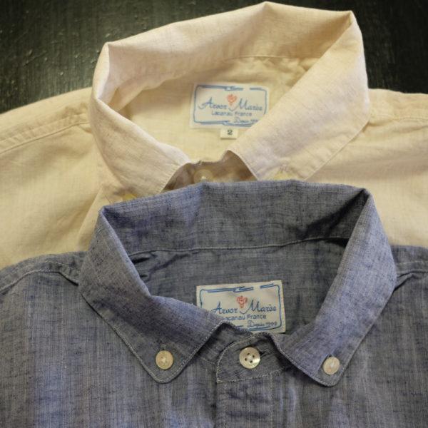 ARVOR MAREE コットンリネンシャンブレイのプチBD半袖シャツ