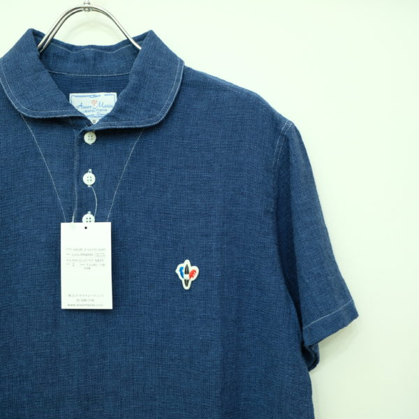 ARVOR MAREE リネンコットンのセーラー半袖シャツ