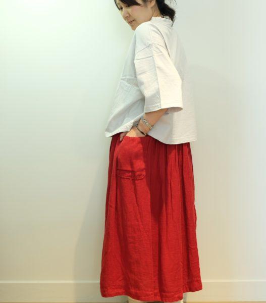 tumugu フランス綾リネンのスカート
