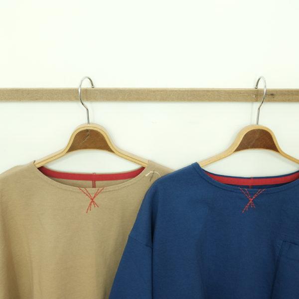 快晴堂 しっかり天竺のボートネック7分Tシャツ