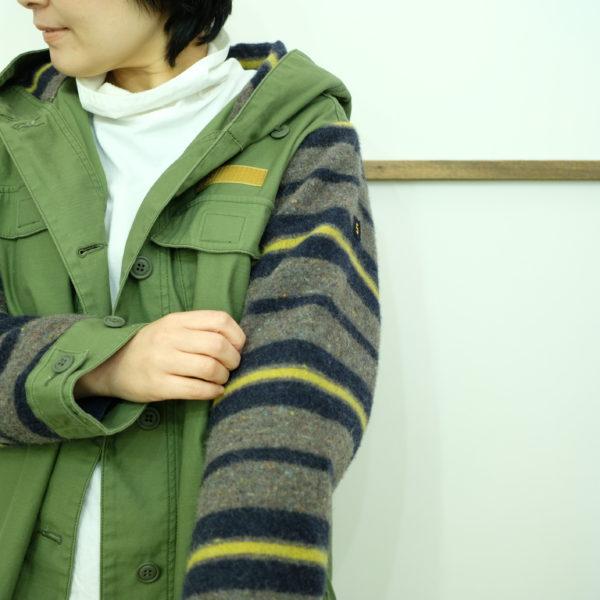 ブランバスク ムラ糸バックサテンとウールボーダーのジャケット
