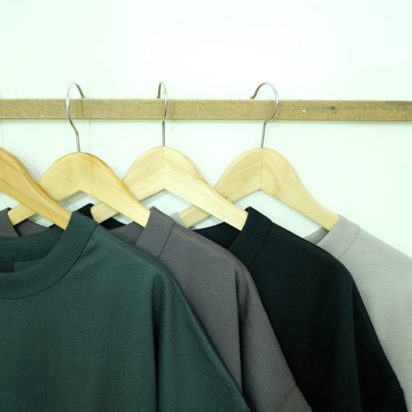 travail manuel ギザ天竺のバインダーアシメトリーTシャツ